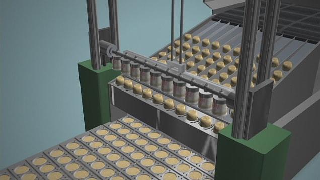 「カップヌードル」の製造工程をCGで再現。まるで、自分が小麦粉になったかのように製造ラインをたどっていきます。